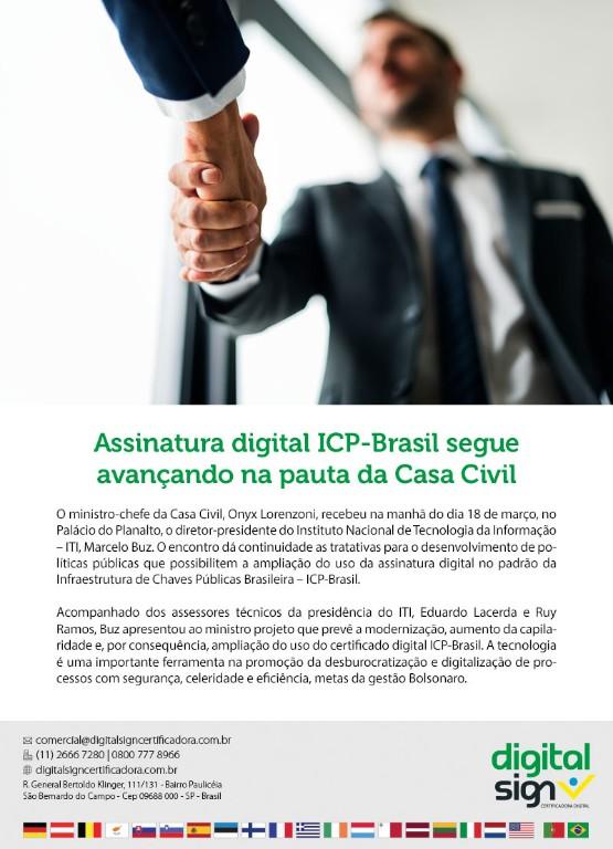 Assinatura digital ICP-Brasil segue avançando na pauta da Casa Civil